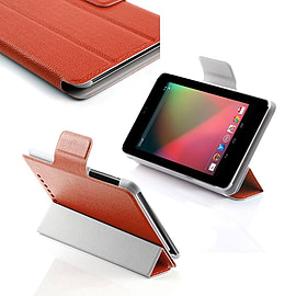 Frostycow Ultra Slim Smart PU Leather Case for Nexus 7 Tablet (V1) Screen Protector & Stylus Red Tablet