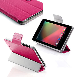 Frostycow Ultra Slim Smart PU Leather Case for Nexus 7 Tablet (V1) Screen Protector & Stylus Pink Tablet