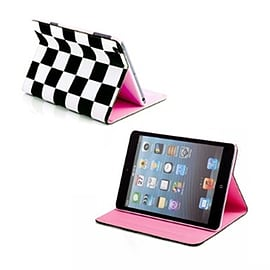 Frostycow Retro Chequered 2 colour case for Apple iPad Mini Black Tablet