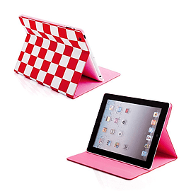 Frostycow Retro Chequered 2 colour case for Apple iPad Mini Red Tablet