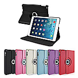 Frostycow 360 Degree PU Leather Rotating Case Stand For Apple iPad 6 Air 2 & Screen Protector Red screen shot 1