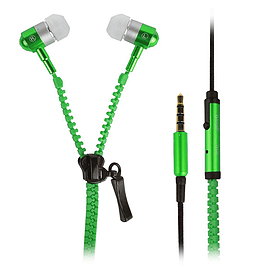 In-Ear 3.5mm Zip Zipper Style Tangle Free Earphones Headphones For Mobile Phone, Tablet, MP3 Green Mobile phones