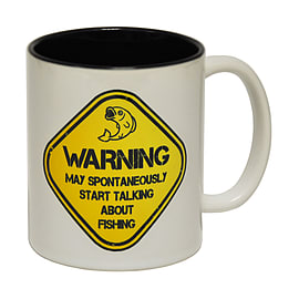 123t Mugs WARNING MAY SPONTANEOUSLY TALK ABOUT FISHING Ceramic Slogan Cup Home - Tableware