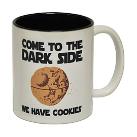 123t Mugs COME TO THE DARK SIDE WE HAVE COOKIES Ceramic Slogan Cup With Black Interior Home - Tableware