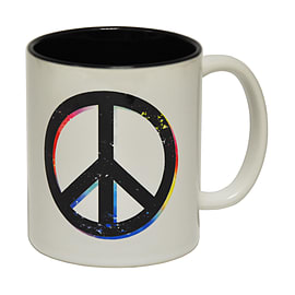 123t Mugs PEACE Ceramic Slogan Cup With Black Interior Home - Tableware