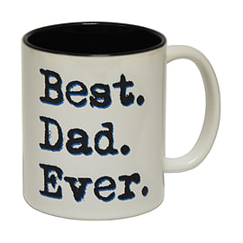 123t Mugs BEST DAD EVER Ceramic Slogan Cup With Black Interior Home - Tableware
