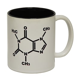 123t Mugs CAFFEINE CHEMICAL STRUCTURE Ceramic Slogan Cup With Black Interior Home - Tableware