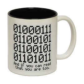 123t Mugs BINARY GEEK Ceramic Slogan Cup With Black Interior Home - Tableware