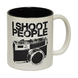 123t Mugs I SHOOT PEOPLE Ceramic Slogan Cup With Black Interior Home - Tableware