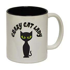 123t Mugs CRAZY CAT LADY Ceramic Slogan Cup With Black Interior Home - Tableware