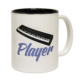 123t Mugs KEYBOARD PLAYER Ceramic Slogan Cup With Black Interior Home - Tableware