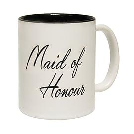 123t Mugs MAID OF HONOUR Ceramic Slogan Cup With Black Interior Home - Tableware