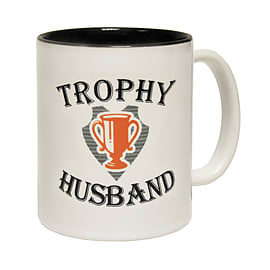 123t Mugs TROPHY HUSBAND Ceramic Slogan Cup With Black Interior Home - Tableware