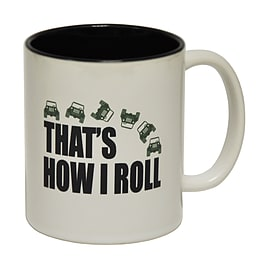 123t Mugs THAT'S HOW I ROLL (4X4) Ceramic Slogan Cup With Black Interior Home - Tableware