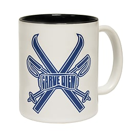 123t Mugs POWDER MONKEEZ CARVE DIEM Ceramic Slogan Cup With Black Interior Home - Tableware