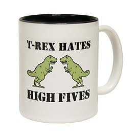 123t Mugs T-REX HATES HIGH FIVES Ceramic Slogan Cup With Black Interior Home - Tableware