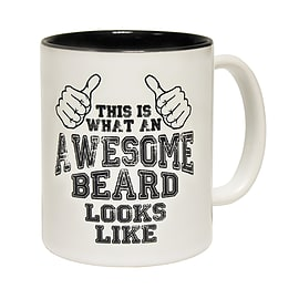 123t Mugs THIS IS WHAT AN AWESOME BEARD LOOKS LIKE Ceramic Slogan Cup With Black Interior Home - Tableware