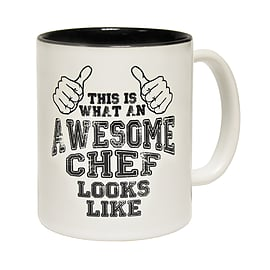 123t Mugs THIS IS WHAT AN AWESOME CHEF LOOKS LIKE Ceramic Slogan Cup With Black Interior Home - Tableware