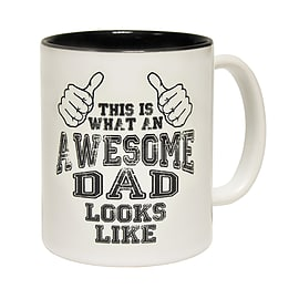 123t Mugs THIS IS WHAT AN AWESOME DAD LOOKS LIKE Ceramic Slogan Cup With Black Interior Home - Tableware