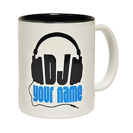 123t Mugs DJ YOUR NAME PERSONALISED DESIGN Ceramic Slogan Cup With Black Interior Home - Tableware
