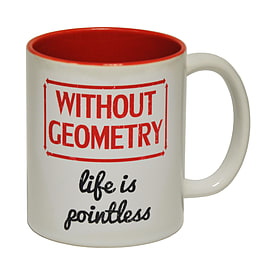 123t Mugs WITHOUT GEOMETRY LIFE IS POINTLESS Ceramic Slogan Cup With Red Interior Home - Tableware