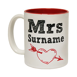 123t Mugs MRS SURNAME PERSONALISED Ceramic Slogan Cup With Red Interior Home - Tableware