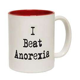 123t Mugs I BEAT ANOREXIA Ceramic Slogan Cup With Red Interior Home - Tableware