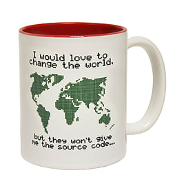 123t Mugs CHANGE THE WORLD - SOURCE CODE Ceramic Slogan Cup With Red Interior Home - Tableware