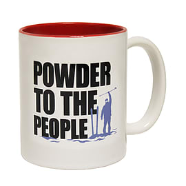 123t Mugs POWDER TO THE PEOPLE SKI Ceramic Slogan Cup With Red Interior Home - Tableware