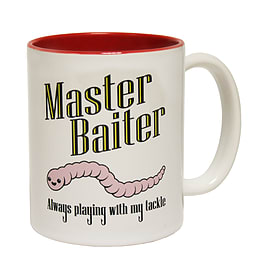 123t Mugs MASTER BAITER FISH FISHING Ceramic Slogan Cup With Red Interior Home - Tableware