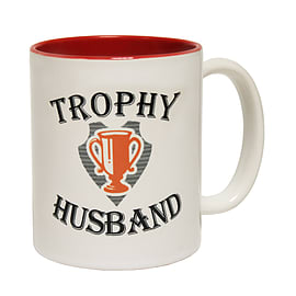 123t Mugs TROPHY HUSBAND Ceramic Slogan Cup With Red Interior Home - Tableware