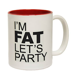 123t Mugs I'M FAT LET'S PARTY Ceramic Slogan Cup With Red Interior Home - Tableware