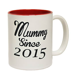 123t Mugs MUMMY SINCE MUG Ceramic Slogan Cup With Red Interior Home - Tableware