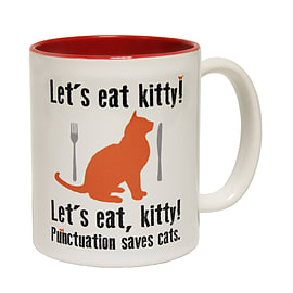 123t Mugs LET'S EAT KITTY - PUNCTUATION SAVES CATS Ceramic Slogan Cup With Red Interior Home - Tableware
