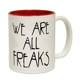 123t Mugs WE ARE ALL FREAKS Ceramic Slogan Cup With Red Interior Home - Tableware