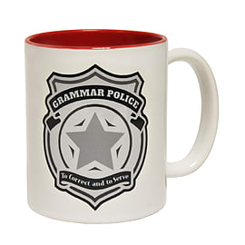 123t Mugs GRAMMAR POLICE TO CORRECT AND TO SERVE Ceramic Slogan Cup With Red Interior Home - Tableware