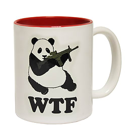 123t Mugs PANDA WTF DESIGN Ceramic Slogan Cup With Red Interior Home - Tableware