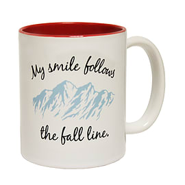 123t Mugs MY SMILE FOLLOWS THE FALL LINE ... MOUNTAIN DESIGN Ceramic Slogan Cup With Red Interior Home - Tableware