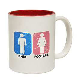 123t Mugs RUGBY MEN ... FOOTBALL WOMEN DESIGN Ceramic Slogan Cup With Red Interior Home - Tableware