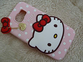 DIA LIGHT PINK HELLO KITTY DOTS SILICONE PHONE CASE COVER FOR SAMSUNG GALAXY S6 (A9) Mobile phones