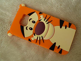 DIA TIGGER FACE SILICONE PHONE CASE COVER FOR SAMSUNG GALAXY S6 (A2 ORANGE) Mobile phones
