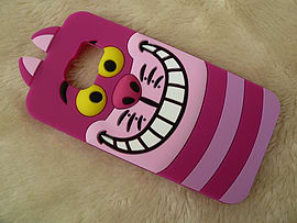 DIA CHESHIRE CAT FACE SILICONE CASE COVER FOR SAMSUNG GALAXY S6 (A2 PURPLE) Mobile phones