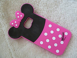 DIA MINNIE MOUSE BACK SILICONE CASE COVER FOR SAMSUNG GALAXY S6 (E12 HOT PINK) Mobile phones