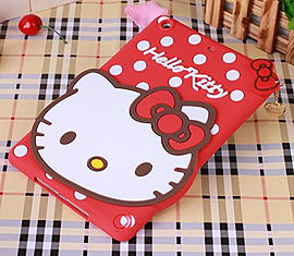 DIA RED HELLO KITTY DOTS SILICONE CASE COVER FOR IPAD MINI (K RED) Mobile phones