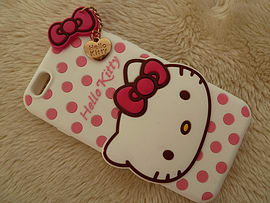 DIA WHITE HELLO KITTY DOTS SILICONE CASE COVER FOR IPHONE 6 PLUS 5.5 (A3 WHITE) Mobile phones