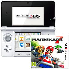Nintendo 3DS Console - Ice White with Mario Kart 7 (3DS) 3DS