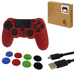 ZedLabz protect & play kit for PS4 - Red - controller skin, tpu thumb grips & 3M charging cable PS4