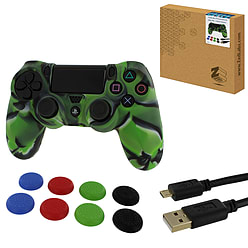 ZedLabz protect & play kit for PS4 - Camo green controller skin, tpu thumb grips & 3M charging cable PS4