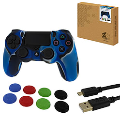 ZedLabz protect & play kit for PS4 - Camo blue controller skin, tpu thumb grips & 3M charging cable PS4