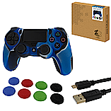 ZedLabz protect & play kit for PS4 - Camo blue controller skin, tpu thumb grips & 3M charging cable screen shot 1